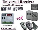 Universal Empfänger kompatibel mit Marantec D343–433, Digital 339,2, D343–868, D168–868,, 106,7–868, D344–868, D164–868Empfänger. 2-Kanal-Rolling & fester Code 300mhz-868,3mhz 12–24VAC/DC Empfänger.