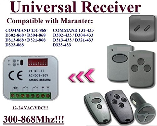 Universal Empfänger kompatibel mit Marantec 433,92MHz D302–433/D304–433/D313–433/D321–433/Command 131–433Fernbedienungen. 2-Kanal-Rolling & fester Code 300mhz-868,3mhz 12–24VAC/DC Empfänger.
