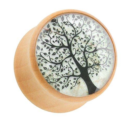 Piercingfaktor Ohr Plug Flesh Tunnel Piercing Ohrpiercing Holz Braun mit Orient Mandala Blume 8mm