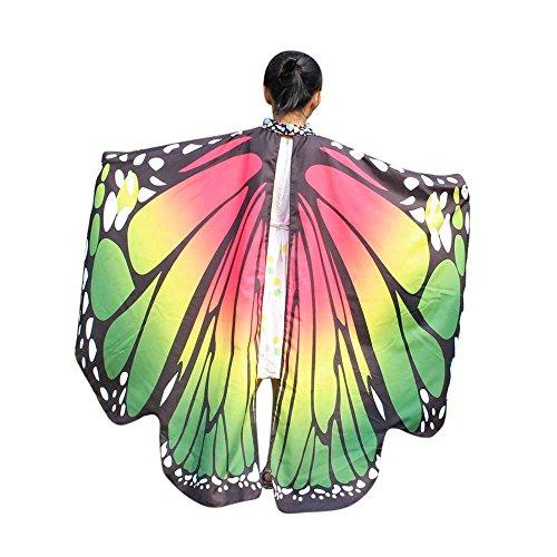 Lazzboy Kid Baby Girl Butterfly Wings Schal Schals Nymphe Pixie Poncho Kostüm Zubehör(M,Grün)