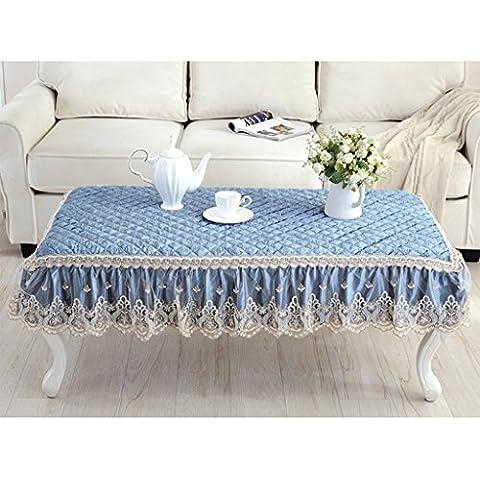 Mantel Mesa de comedor Mat Lace Tela de mesa anti-caliente Tela de terciopelo Tela de mesa Rectangular Mantel Pad Pad de mesa de café ( Color : Royal Blue , Tamaño : 85*130cm )