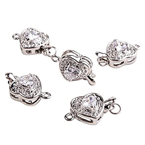 PandaHall Elite 5 Sets Heart Shape Brass Box Clasps with Cubic Zirconia Beads Valentine Craft Findings Rhinestone Beads, Platinum, 17x11mm, Hole: