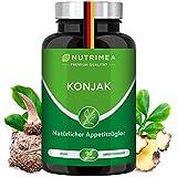 Abnehmen mit Glucomannan aus Konjak Wurzel | Natürlicher Appetitzügler | 100% VEGAN | Hochdosierte Sättigungskapseln gegen Hunger | Low Carb Diät Kapseln Konjac Green Fit