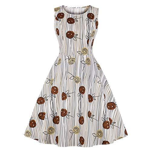"""KUKICAT Damen Ã""""rmellose Blumen Print Vintage Abendkleider Retro PartykleiderKleid Schwingen Kleid"""