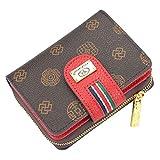 Mini Kurze PU Leder Brieftasche Damen Geldbörse Große Kapazität Clutch Taschen für Frauen Multi Kreditkarteninhaber Kleine Münze mit Reißverschlusstasche (Farbe : Rot)