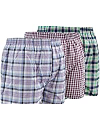 Mens Woven Shorts Printed Underwear Poly Cotton Boxer Short Pack of 3