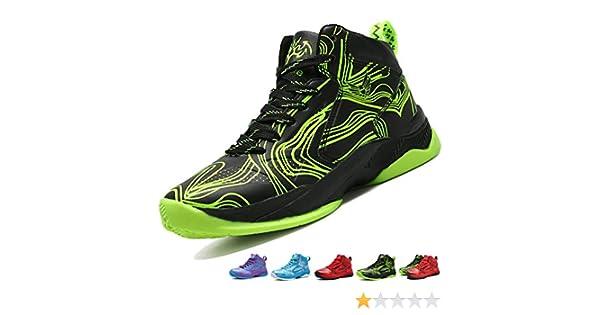 LANSEYAOJI Enfant Chaussure de Basket Ball pour Garçons Classique High Top Sneakers Étudiant Outdoor Baskets Légères Antidérapantes Chaussures de
