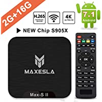 TV Box Android 7.1 Newest - Maxesla MAX-S II Smart TV Box with 2GB + 16GB, Upgrade Amlogic S905X Chipset, True 4K UHD Playing, Support H.265 Video Decoder, 2.4GHz Wifi TV Box with Remote Control