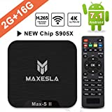 Smart TV Box Android 7.1 - Maxesla MAX-S II Mini TV Box de 2 GB RAM + 16 GB ROM, 2019 Última CPU Amlogic S905X, WiFi 2.4GHz, Doble USB, H.265, HDMI & AV, 4K UHD TV Box