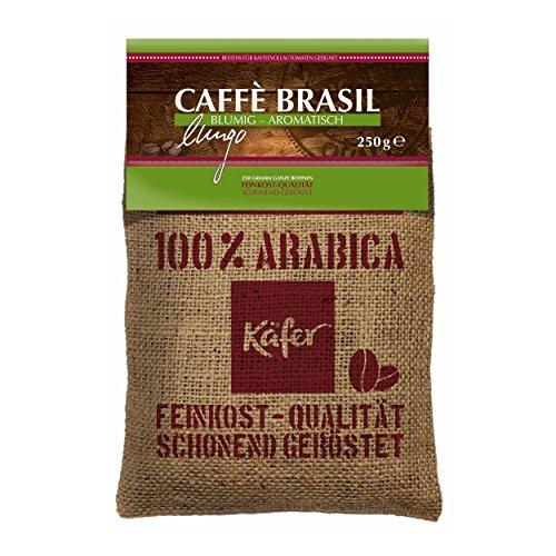 Käfer Caffé Brasil Lungo, Kaffee, Blumig-Aromatisch, ganze Bohnen, 100% Arabica, im Jutesäckchen,...