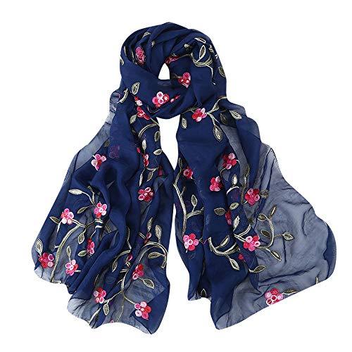 Lazzboy Frauen Stickerei Chiffon Schal Hijab Wrap Schals Stirnband Muslim Hijabs Luxus Damen Seidentuch Aufwändig Bedruckt Tuch Harmonische Farben Damentuch(O)