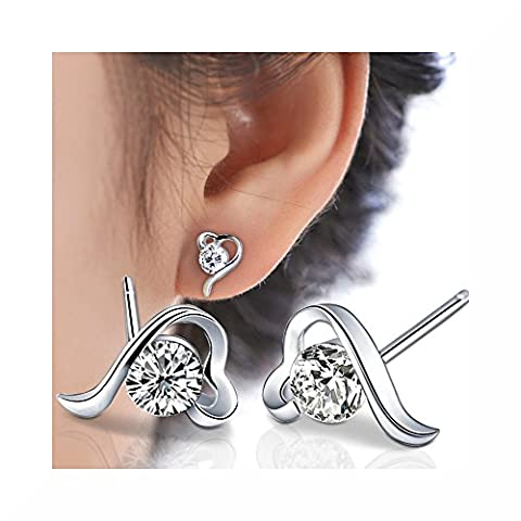 Heart Shaped Zircon Silver Plated Stud Earrings With Premium Quality Presentation Gift Box