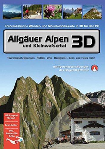 Allgäuer Alpen und Kleinwalsertal 3D. Für Windows Vista / XP /2000: Fotorealistische Wander- und Mountainbikekarte in 3D für den PC. Tourenbeschreibungen - Hütten - Orte - Berggipfel - Seen und vieles mehr