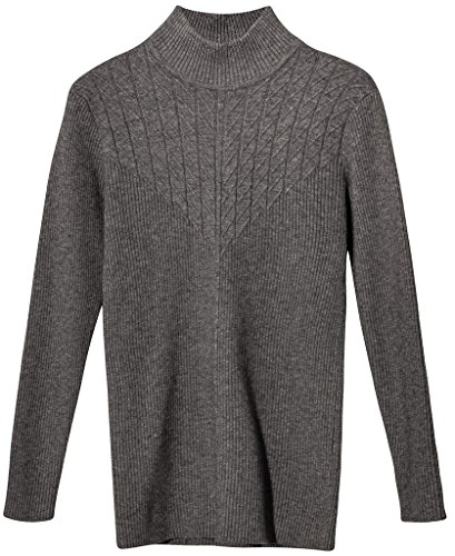 Vogueearth Donna's Lungo Manica Knit Slim-Fit Turtleneck Lungo Pullover Maglieria Sweater Grigio-2