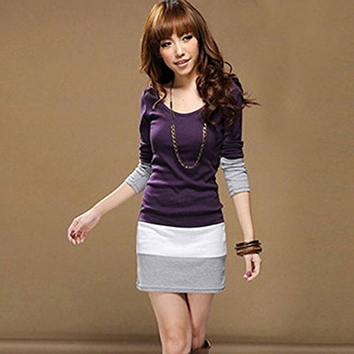 Bluestercool Femmes Casual manches longues Bodycon Stripe Cocktail Party Mini Dress Violet