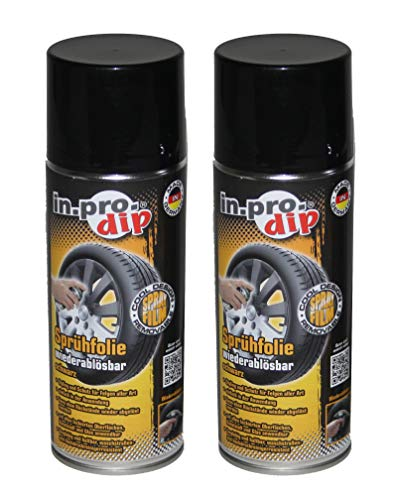 in.pro.dip 400ml Sprühfolie schwarz matt Felgenfolie Felgenspray Spray Felge Felgenfarbe Set (2X 400ml) -