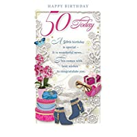 "Age 50 Female Birthday Card - 50 Today Orchid, Boots & Gift Boxes 9"" x 4.75"""