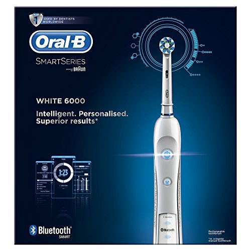 Oral-B Smart Series 6000 CrossAction Electric Rechargeable Toothbrush with Bluetooth Connectivity and Smart Series Powered by Braun (Packaging May Vary) – Ships with 2 pin UK plug