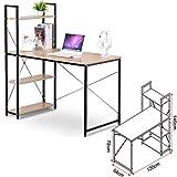 EUGAD Schreibtische 120x64x140 cm Computertisch PC-Tisch Bürotisch Arbeitstisch mit Bücherregal Holz, TSB01hei