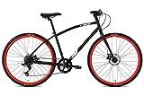 FabricBike Commuter Trekking Fahrrad Hybrid Touring Bike Straßen-/Stadtfahrrad, Sram 8 Gänge, Tektro Mechanische Scheibenbremsen (Matte Black & Red, M-45cm)