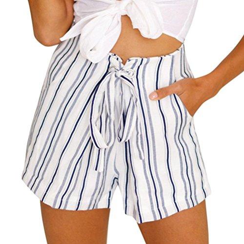 Bekleidung,reizvolle gestreifte heiße Hosen Trada Damen Sommer-zufällige kurze Hosen schnüren sich oben kurze Badehose Strand Surfen Laufen Schwimmen Watershort Sport Yoga Elastische Shorts (XL, Weiß)