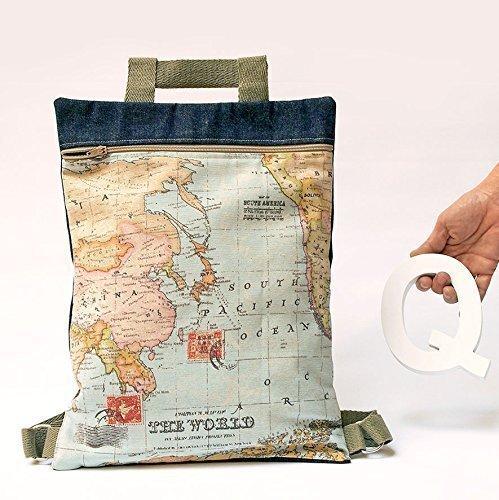 Mochila Mapa. Bolso personalizado de tela mundo con cremallera. Práctico y  ligero. e7960dcce3b4