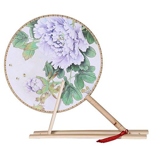 ArtiDeco Rund Fächer Blumen Chinesische Tang Dynastie Stil Handfächer mit Sockel Tanzball Accessoires Damen Kostüm Zubehör (Stil 3)