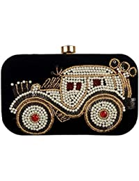 Revolution Handicraft Party Wear Hand Embroidered Box Clutch With Black Velvet And White Bead On Elegant Box Clutch...