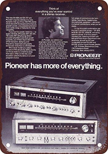 NGLJ 1972 Pioneer Stereo Receivers Vintage Look Reproduction Metal Tin Sign 8X12 Inches