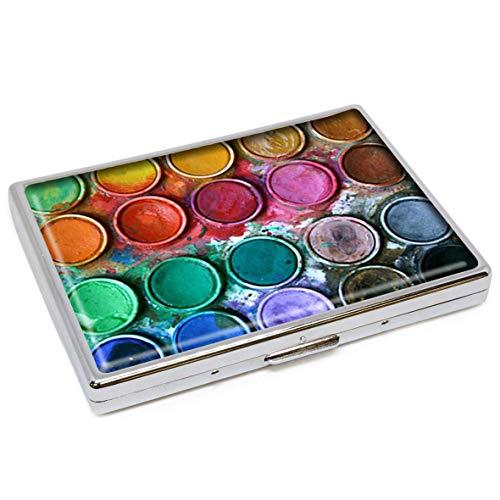 Aquarellfarbe Box Fashion Silber Edelstahl Zigarettenetui Halter Zigaretten Box Aufbewahrungsbox Stilvolle Ausweishülle Kreditkarte Etui