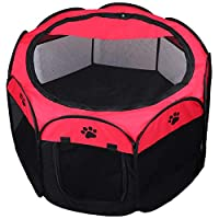 KEESIN Foldable Pet Tent 8-Panel Mesh House Puppy Playpen Kennel for Dog Cat Rabbit (73 * 73 * 43cm, Red)