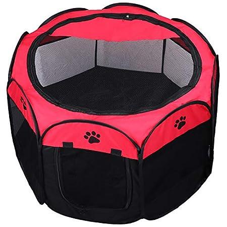 KEESIN Faltbares Haustier Zelt 8-Panel Mesh Haus WelpenLaufstall Hundehütte für Hunde Katze Kaninchen