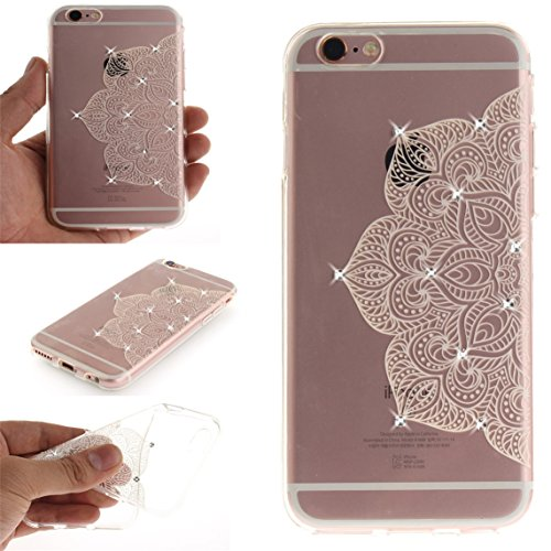 iPhone 6 Plus/6S Plus Coque, Voguecase (Diamant bling)TPU avec Absorption de Choc, Etui Silicone Souple Transparent, Légère / Ajustement Parfait Coque Shell Housse Cover pour Apple iPhone 6 Plus/6S Pl Demi-fleur