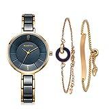 MAMONA Reloj de Mujer y Juego de Regalo de Brazalete de Acero Inoxidable para Damas/Reloj de Cerámica L3887BLGT Azul
