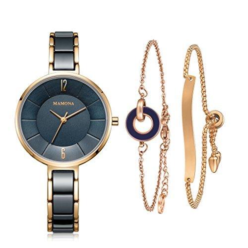 MAMONA Damen Uhr analog Japanisches Quarzwerk mit Edelstahl und Blau Keramik Armband Set L3887BLGT