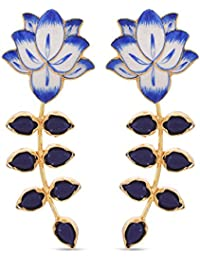 Tistabene Retails Floral Enamelled Dangler Earring | Blue Colored Stones Dangler Earrings | Flower And Leaf Inspired...