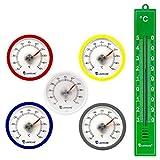 Lantelme 5 Stück Set Rundes Bimetall Analog Klebe Kühlschrankthermometer - Kühlschrank Thermometer Temperatur Anzeige + / - 50 °C - Kunststoff Farbe blau, weiß, rot, silber, gelb
