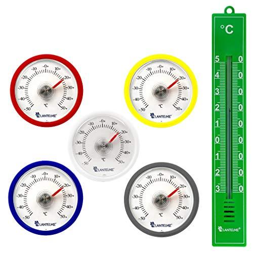 Lantelme 5 Stück Set Rundes Bimetall Analog Klebe Kühlschrankthermometer - Kühlschrank...