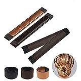 Ealicere 3 Stück Donut Hair Bun Maker, Magic Twist Donut French Band für Damen DIY Hairstyle Tools(Schwarz, dunkelbraun und braun)