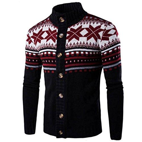 Ularma Herren Casual Stehkragen Pullover Cardigan Schön Aufdruck Herbst Winter Knitted Strickjacke Schwarz