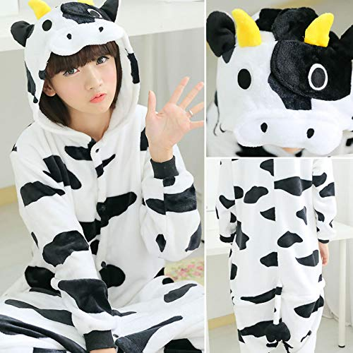 JYLW Damen Schlafanzug Frauen Einhorn Pyjamas Sets Erwachsene Winter Tier Pyjamas Kits Flanell Kostüm Cosplay Pijamas Unicornio Onesies Langarm, Kuh, ()