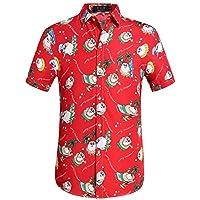 SSLR Men's Funny Santa Claus Button Down Hawaiian Christmas Shirts (Large, Red)