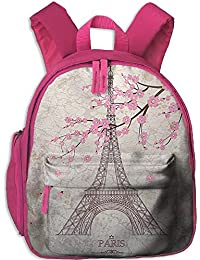 Lovely Schoolbag Eiffel Tower Flowers Double Zipper Waterproof Children Schoolbag Backpacks with Front Pockets For Teens