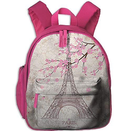 Lovely Schoolbag Eiffel Tower Flowers Double Zipper Waterproof Children Schoolbag  Backpacks with Front Pockets For Teens 1e46b1f5fc4dd