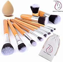 START MAKERS 11 unidades Lote de Brochas y Pinceles de Maquillaje con mango de bamb?² y Esponja para maquillar, incluido el estuche