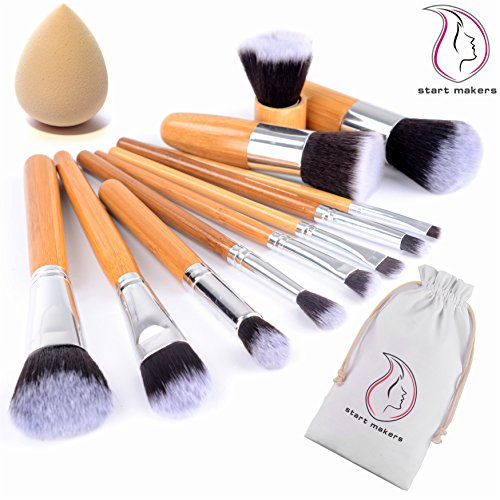 Start Makers Bamboo Makeup Brushes -12pcs Natural Make up Brushes - Vegan Make up Brush Set -Pro Cosmetics Kabuki Brush - Makeup Brushes Sets - Extremely Soft Makeup Brush Set - Beauty Makeup Sponge