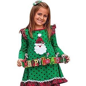 Disfraz Navidad Bebe Niña Volantes Manga Larga Dibujos Animados Estampado de Punto Vestido Ropa de Conjunto para 1 a 5… 12