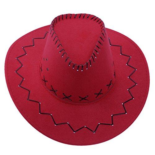 Smile YKK Modern Kinder Junge Mädchen Outdoor Buschhüte Sonnenhüte Cowboy Hüte Westernhut Cowboy-Hut Ranger Hut Buschhut,One Size Umfang:52-54cm, Erwachsene Rot, Hut Umfang:52-54cm