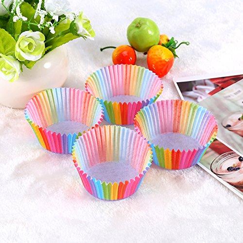 Rainbow Farbe Cupcake Liner Backförmchen Kuchen-Muffin Fällen Kuchen Box Cup Tablett Kuchen, Form Dekorieren Werkzeuge 100 PCS