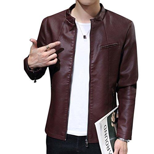 Uomo Slim Fit Cappotti Giacchetta Basic Biker Giacche In Pelle PU Cappotto Capispalla Vino rosso